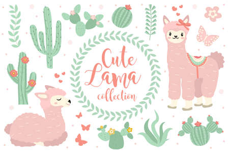 Cute lama set objects. Collection design elements with llama, cactus, lovely flowers. Isolated on white background. Alpaca princess character. Kids baby clip art funny smiling animal. Vector.
