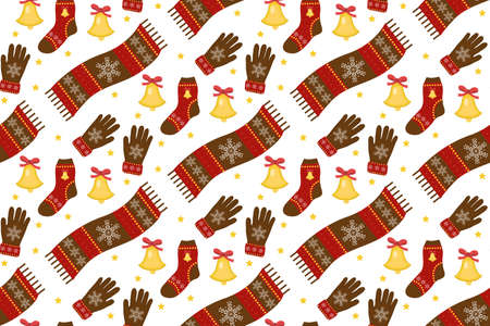 Holiday Christmas seamless pattern. Winter clothes endless texture, background. Warm apparel backdrop. Vector illustration.