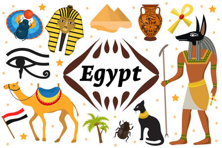 Ancient magic Egypt set icons objects. Collection design elements witch sorrow beetles, Pharaoh, pyramid, ankh, Anubis, camel, antique hieroglyph. Isolated on white background. Vector illustration.