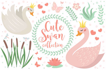 Cute swan princess character set of objects. Collection of design element with swans, reeds, water lily, flowers, plants. Kids baby clip art funny smiling animal. Vector illustration.