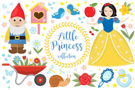 Cute fairytale princess snow white set objects. Collection design element with a little pretty girl, gnome, apple, flowers, birds. Kids baby clip art funny smiling character. Vector illustration. Vettoriali