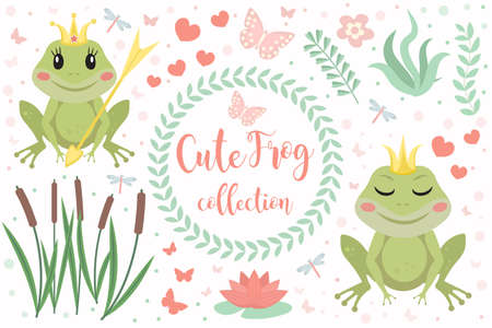 Cute frog princess character set of objects. Collection of design element with marsh reeds, flowers, plants. Kids baby clip art funny smiling animals. Vector illustration