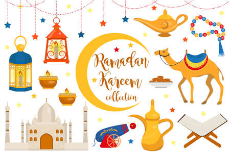 Ramadan kareem flat icon set, cartoon style. Collection of arabic design elements with camel, quran, lanterns, rosary, food, mosque. Vector illustration Illustration