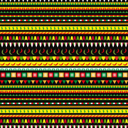 Cinco de Mayo seamless pattern with a traditional ornament. Mexican ethnic, tribal endless background, texture. Vector illustration