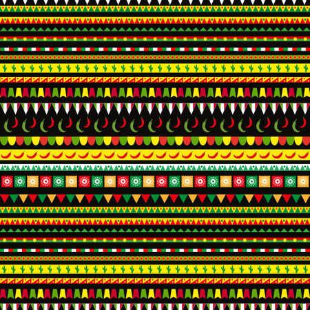 Patrón sin fisuras del Cinco de Mayo con un adorno tradicional. Fondo sin fin étnico, tribal mexicano, textura. Ilustración vectorial