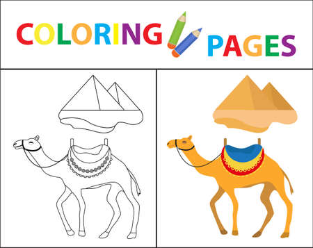 Coloring book page. Camel and pyramid. Sketch outline and color version. Coloring for kids. Childrens education. Vector illustration