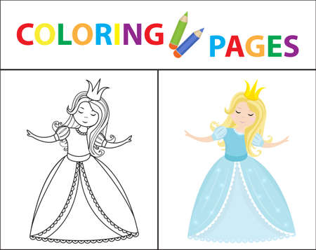Coloring book page for kids. Cinderella little princess. Sketch outline and color version. Childrens education. Vector illustration