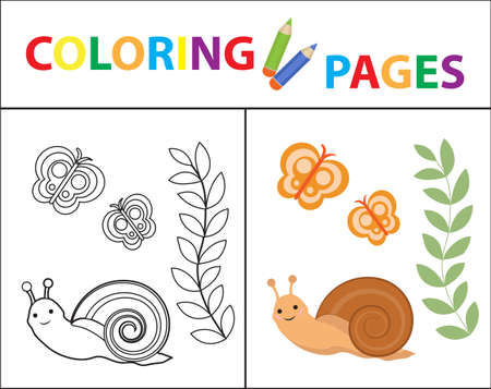 Coloring book page for kids. Snail plant and butterfly. Sketch outline and color version. Childrens education. Vector illustration