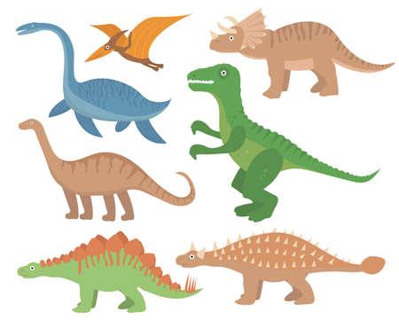 Dinosaurs flat icon set, cartoon style. Collection of objects with pterosaur, stegosaurus, triceratops, allosaurus, tyrannosaurus, apatosaurus, brontosaurus ankylosaurus plesiosaurus Vector
