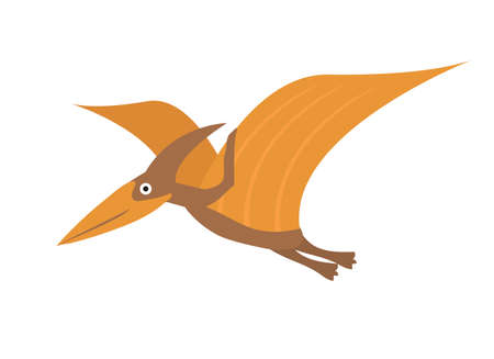 Pterosaur flat style icon. Isolated on white background. Vector illustration.