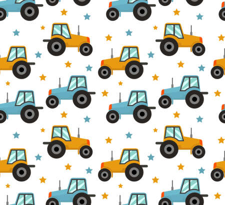Tractor seamless pattern. Baby cars for boys repeating texture, endless background. Vector illustration. 向量圖像