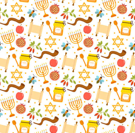 Seamless pattern, texture for the Jewish new year. Rosh Hashanah, Shana Tova background wallpaper. Vector illustration.