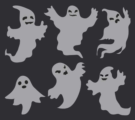 Ghosts scary set, flat style. Isolated on a black background. Halloween concept. Collection of dead spirits. Vector illustration