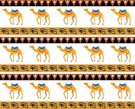 Egyptian seamless pattern. Tribal repeating texture, endless backdrop backdrop. Vector illustration. Illustration
