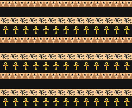 Egyptian seamless pattern. Tribal repeating texture, endless backdrop backdrop. Vector illustration. Ilustração