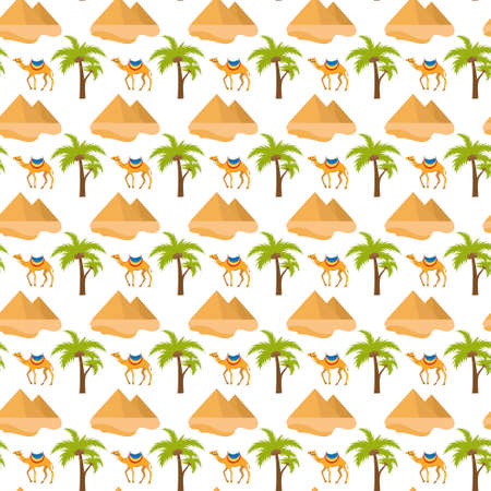 Egypt seamless pattern. Tourism travel endless background, pyramid palm camel repeating texture.Vacation backdrop. Vector illustration. Reklamní fotografie - 134979921