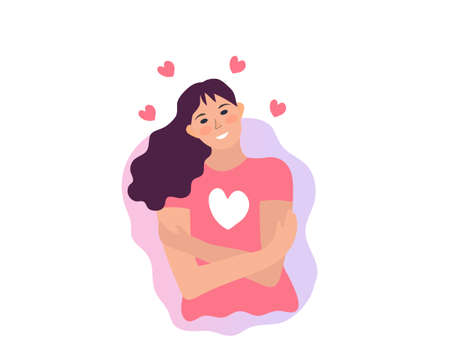 Love yourself, girl hugs herself. Narcissistic, self-confident people, increase self-esteem. Health, care, body positive concept. Vector illustration. Illustration