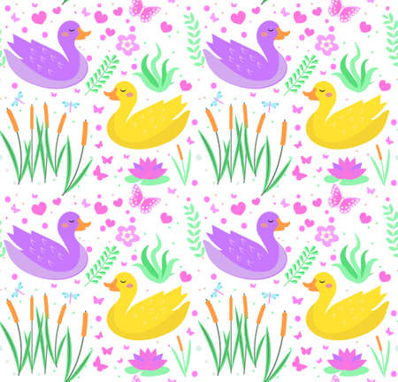 Cute duck seamless pattern with reeds, water lily, flowers, plants. Kids baby smiling animal endless texture. Vector illustration.
