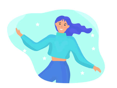 Happy woman is spinning in dance. Fun colorful modern girl with colored hair enjoys success. Flat cartoon style. Vector illustration.  イラスト・ベクター素材