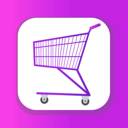 Shopping carts icon flat style. Metal shopping trolley, for purchases in a supermarket isolated on white background. Symbol, sign. Vector illustration.
