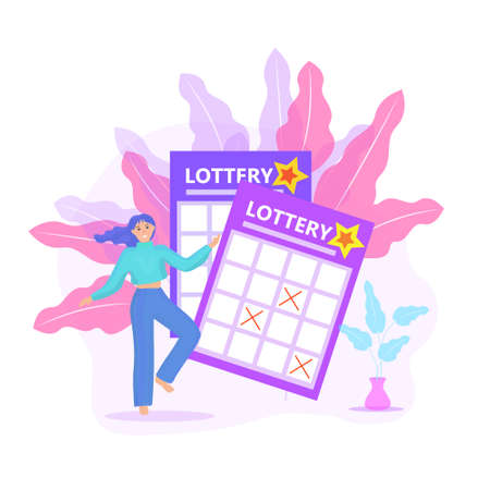 Lottery ticket, woman playing lotto, win icon flat style. Vector illustration.