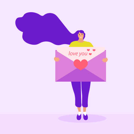 Girl holds a love letter, mail, valentines day concept. Flat modern illustration. Vector illustration.