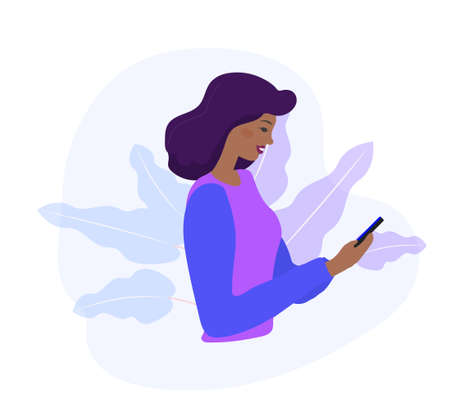 Black woman looks at the phone and checking social networks. Virtual communication. African American Girl reads SMS chat. Online dating concept. Flat modern vector illustration.