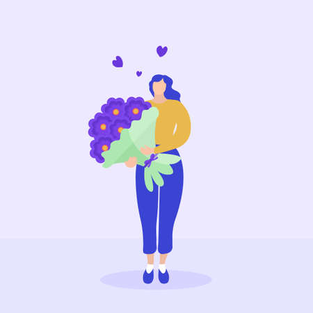Girl holds a bouquet of flowers, Valentine s Day, March 8, delivery concept. Flat modern illustration. Vector.