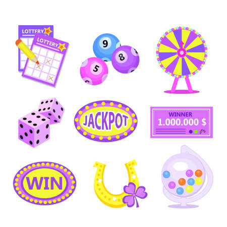 Bingo lotto icon set. Lottery win jackpot badges with horseshoe, lottery drum, tickets, wheel of fortune, check.