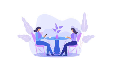 Girls are sitting at a table in a cafe drinking coffee. Women in a restaurant, friends communicate. Flat modern illustration. Vector illustration