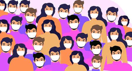 Masked people, crowds, virus protection. Coronavirus concept. flat style icon. Isolated on a white background. Vector illustration. Ilustracje wektorowe