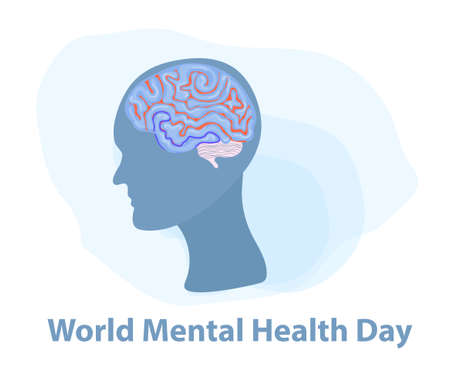 World Mental Health Day. Silhouette of a mans head with brain. Isolated on a white background. Vector illustration.