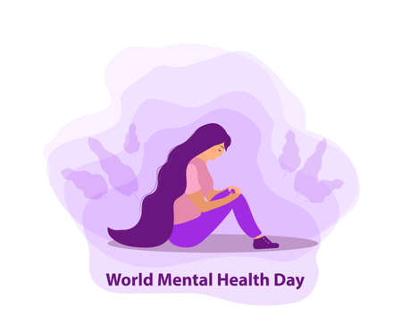 World Mental Health Day. Girl in sadness, depression concept. Isolated on a white background. Vector illustration.