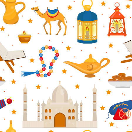 Ramadan kareem seamless pattern with arabic design elements camel, quran, lanterns, rosary, food, mosque. Vector illustration. Illustration