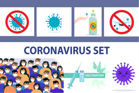 Coronavirus infographics set, icons flat style. COVID-19 hand disinfector hand treatment, stop virus sign, masked people, vaccination. Vector illustration.