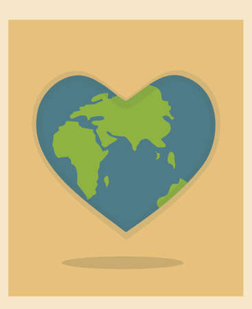 World Environment Day and Earth Day, planet in the shape of a heart poster, postcard. Protecting nature ecology concept. Vector illustration.