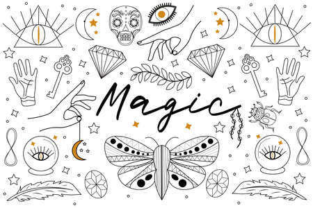 Magic Hand drawn, doodle, sketch line style set. Witchcraft symbols.Ethnic esoteric collection with hands, moon, crystals, plant, eye, palmistry and other magical elements. Vector illustration.
