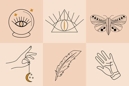 Magic Hand drawn, doodle, sketch line style set. Witchcraft symbols.Ethnic esoteric collection with hands, moon. Vector illustration. Иллюстрация