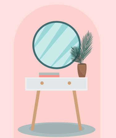Round mirror on a vintage pedestal table in the bedroom. Modern trendy interior design. Plant in the room, retro furniture. Vector illustration. Vetores