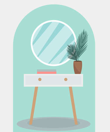 Round mirror on a vintage pedestal table in the bedroom. Modern trendy interior design. Plant in the room, retro furniture. Vector illustration.