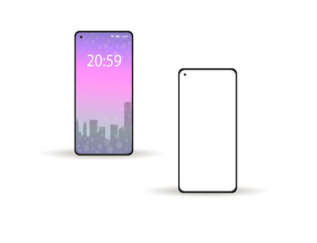 Smartphone modern 2020 realistic 3d style with white blank mockup screen. Vector illustration.