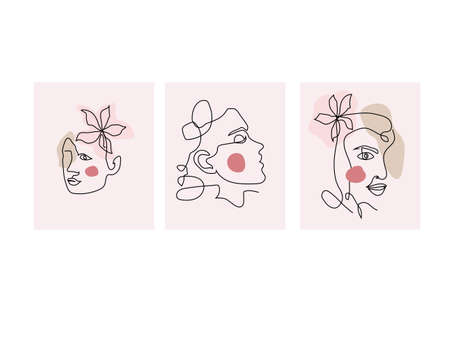 Girls Faces in line art modern trendy style. Abstract woman face one line. Vector illustration.
