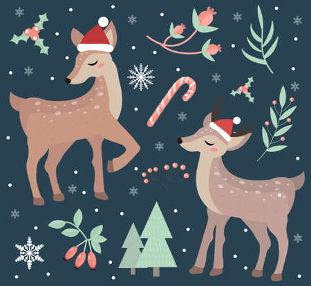 Merry christmas postcard. Cute fawn in the winter forest set of objects. Collection of design elements with a little deer in a hat of Santa Claus, snowflakes and a Christmas tree. Vector illustration.