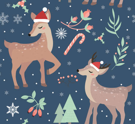 Merry christmas seamless pattern. Cute fawn in winter forest repeating texture.Little deer wearing santa claus hat, snowflakes endless background. Vector illustration.
