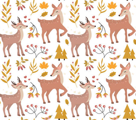 Cute fawn in the autumn forest seamless pattern. repeating texture. Little deer and leaf fall endless background. Vector illustration.
