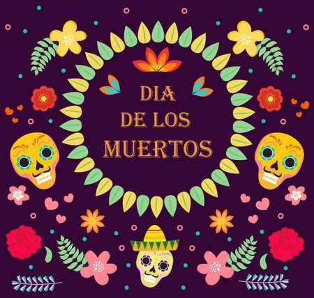 Day of the Dead Mexican holiday icons flat style. Dia de los muertos collection of objects, design elements with sugar skull, skeleton, flowers. Vector illustration.