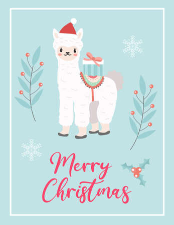Merry christmas cute card with llama alpaca in santa hat. Winter holidays new year template for your design. Vector illustration. Иллюстрация