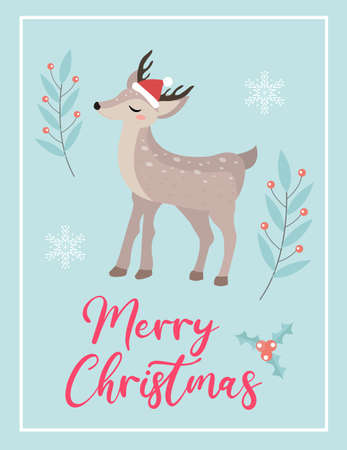 Merry christmas cute card with deer in santa hat. Winter holidays new year template for your design. Vector illustration.