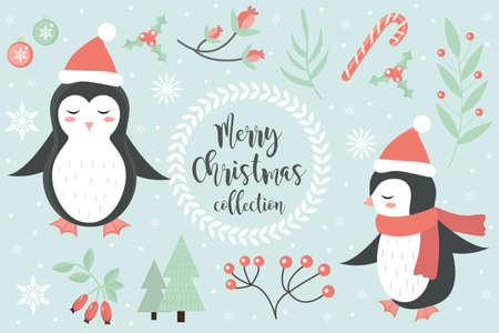 Cute penguin in the winter forest set of objects. Collection of design elements with snowflakes and a Christmas tree. Merry christmas postcard. Vector illustration.