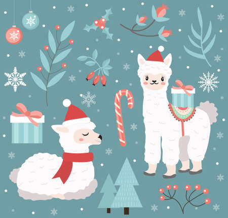 Cute llama in the winter forest set of objects. Collection of design elements with a little alpaca in a hat of Santa Claus, snowflakes and a Christmas tree. Merry christmas postcard. Vector.